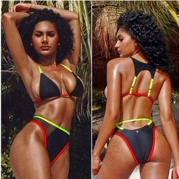 $enCountryForm.capitalKeyWord Australia - Summer swimwear hot pure color bikini mesh yarn splice swimsuit for women split swimsuit sexy bikinis