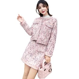 f1320591e2 2019 Winter Runway Pink Tweed Suit Set Vestidos Women Single Breasted Short  Jacket Coat + Mini Pencil Skirt 2 Pcs Set Outfits