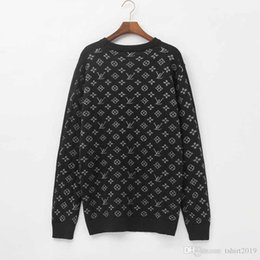 Fashion belts applique online shopping - Louis autumn winter new vintage jacquard sweaters black gray blue men s and women s new fashion sports sweaters