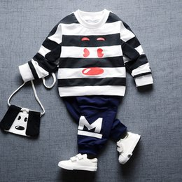 Girl Puppy Clothing Australia - 2017 Boys and Girls Clothes Suit Striped Cartoon Puppy Long-sleeved T-shirt + Pants 2pcs Sets of Spring Fashion Baby Cotton