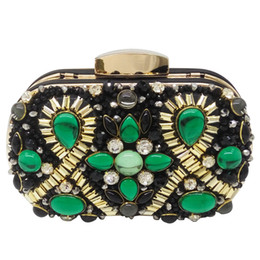 $enCountryForm.capitalKeyWord NZ - Green Emerald and Black Beaded Women Evening Clutch Wedding Party Dinner Handbags and Purses Chain Shoulder Bag