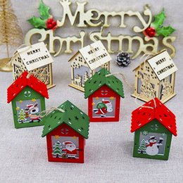 small house decoration Australia - Luminous Wooden House Christmas Decorations Hanging Ornament Pendant DIY Xmas Tree Decor NSV775