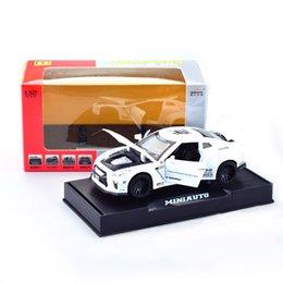 sound glasses Canada - [Boxed] Model GTR Sports Car 1: 32 Alloy Car Model Sound And Light Door Opening Car Model Toys Children Decoration