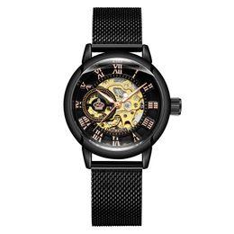 Wrist Watch Glass Chain Australia - Orkina 2019 Hot Sale Women's Fashion All Black Automatic Self-Winding Stainless Steel Mesh Chain Strap Wrist Watch ORK-W-0001