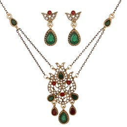 Necklaces Pendants Australia - Vintage Crystal Tassel Necklace Earring Set Water Drop Shape Zircon Pendant Retro Fashion Jewelry Set Gift For Women Girls