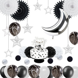 Black White Birthday Party Decorations Australia - Monochrome Safari 1st Birthday Party Decoration Kit Black White Marble Balloons Silver Moon Cake Topper Space Theme Baby Shower