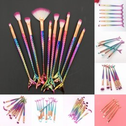 makeup brush cleaning kit NZ - 6 10Pcs Mermaid Brushes Makeup Kit Beauty Tools Fish Tail Brush Cleaner Rainbow Eye Shadow Blush Powder Face Brush Sets