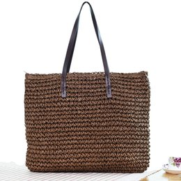 Woven Tote Bags Wholesale NZ - 2019 Summer Woven Handmade Knitted Straw Beach Bags Women Handbags Larger Capacity Casual Totes Female Shopping Shoulder Bags