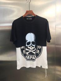 Colour Block NZ - 2019 Summer New Mastermind Japan Skull Print Black White Colour Blocking Women Men T shirts tees Hiphop Men Cotton T shirt 3XL