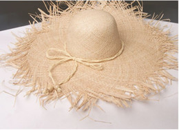 large brim straw NZ - Natural Large Wide Brim Raffia Straw Hats Woven Circle Fringe Beach Cap Summer Hollow Out Big Straw Hat