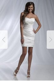 Strapless Satin Short Wedding Dresses Australia - Sheath Column Strapless Sweetheart Short Mini Satin Wedding Dress058