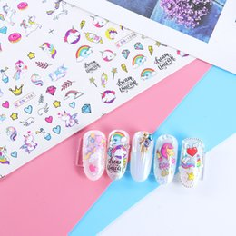 water decals cartoons nail art 2019 - 120pcs LOT Water Nail Stickers Unicorn Cute Cartoon Design Water Decal Sliders Wraps Tool Manicure Nail Art Decor Tips c