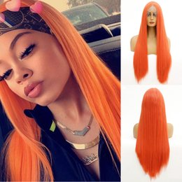 cosplay white lace front wig NZ - Silky Straight Wig 150%Density Synthetic Lace Front Wigs for Black White Women Glueless Orange-Red Synthetic Wig Daily Cosplay Party Wig