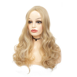 $enCountryForm.capitalKeyWord UK - Long Blonde Body Wave Hair Synthetic Wigs Kanekalon Women Hair Cosplay Party Wavy Wig for American African Women