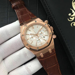 China 2019 high quality luxury mens watches automatic watches fashion 42mm face waterproof watch with leather strap more function mens watches cheap more tags suppliers