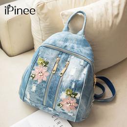 $enCountryForm.capitalKeyWord Australia - Pinee Fashion Women backpacks For Girl Flower Embroidery Denim bags Teenagers School Bag travel Bag Feminina Knapsack iPinee Fashion Wome...