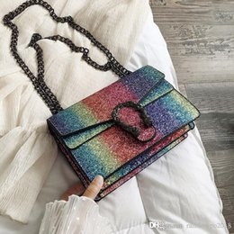 factory outlet handbags NZ - Factory outlet brand women handbag rainbow sequins snake chain bag elegant atmosphere leather Dionysian bag fashion leather Messenger bag