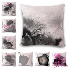 Lotus piLLows online shopping - Chinese Ink Lotus Cotton Painting Flax Pillow Back Cushion Cushion Ebay Heat Sell