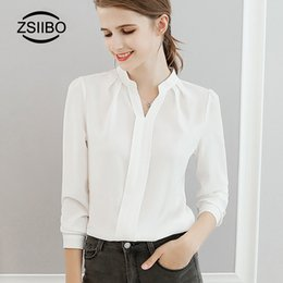 Shirt Color For Office Australia - 2018 Spring Autumn Women Tops Long Sleeve Casual Chiffon Blouse Female V-Neck Work Wear Solid Color White Office Shirt For Women