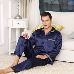 6fa2fef79a 2019 Hot Sale Mens Silk Satin Pajama Set Luxury Long Sleeve Nightwear Suit Print  pajamas Home Service Mens Clothes Big Size XXXL