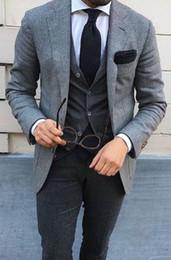 Custom Tweed Suit Australia - Grey Tweed Men Wedding Suit Vintage Suit Men Blazer Formal Business Coat Jacket Slim Tuxedo 3 Piece Suit with Pants Vest Custom ZQ