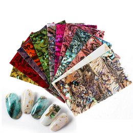 gel nail art sticker Australia - 1Sheet Nail Art Sticker Adhesive Broken Gradient Mermaid Shell Abalone Flakes 3d Nails Tips Manicure UV Gel Polish DIY Decal New
