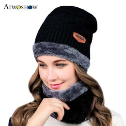 Scarfs Cotton Australia - 2 Pieces Set New Winter Hat And Scarf For Women Winter Scarf Cotton Female Hat Casual Solid Color And