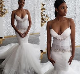 sexy african wedding dresses UK - Mermaid Wedding Dresses Black Girls African Spaghetti Straps Sexy 2020 Bridal Gowns Crystals Beaded Court Train Vestidos De Novia AL6463