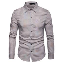 Wholesale slim fit work shirts resale online - Mens Classic Striped Shirts Brand New Slim Fit Long Sleeve Men Shirt Business Work Casual Social Shirt Men Chemise Homme