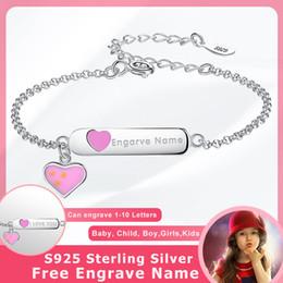 Children Bracelets Sterling NZ - BELAWANG Real 925 Sterling Silver Pink Enamel Sweet Heart Charm Bracelet Engrave Name Custom Bracelet for Kids Children Jewelry