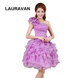 Wholesale robe de soiree one shoulder lavender bridesmaid party dresses girls gowns for teenagers high school free