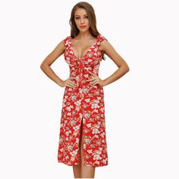 $enCountryForm.capitalKeyWord UK - Kimuise holidays beach dress for women split v neck sexy boho sundress floral print midi length ukraine female summer dresses