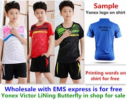 Ems Clothes Australia - Wholesale EMS for free, Text printing for free, new kid children badminton shirt clothes table tennis T sport shirt clothes 821