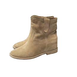aa5ecff8 Botines negros caqui botines cortos de gamuza de vaca mujer botines en  altura Aumento de damas ocasionales botas martin