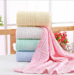 Summer Infant Muslin Australia - Infant Muslin Swaddles 6 Layers 100% cotton Solid Colors Blankets Nursery Bedding Newborn Swadding Bath Towels 105x105cm toddler Blankets
