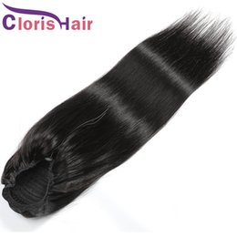 hair colors women 2021 - New Arrival Brazilian Virgin Human Hair Silky Straight Ponytail Drawstring Ponytail With 2 Clips In Natural Hair Extensi