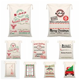 bags for vegetables Australia - Christmas Gift Bags Large Organic Heavy Canvas Bag Santa Sack Drawstring Bag With Reindeers Santa Claus Sack Bags for Kids 13 Styles