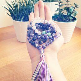 $enCountryForm.capitalKeyWord UK - Rosequartz And Purple Quartz Necklace 108 Mala Bead Necklace Yoga Jewelry Buddhist Prayer Mala Beads Necklaces Tassel Necklaces J190616