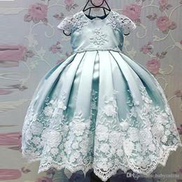 $enCountryForm.capitalKeyWord Australia - Baby Blue Cheap Flower Girl Dresses Cap Sleeve Crew Neck Princess Baptism First Communion Dress For Kids Appliqued Toddler Pageant Gowns