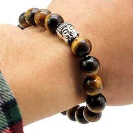 Natural Tigers Eye Bracelet NZ - Fashion natural stone Buddha head bracelets handmade string tiger eye turquoise elastic beaded bracelet free shipping
