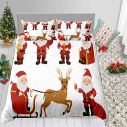 santa bedding sets Australia - Santa Print Bedding Set For Children Cute 3D Duvet Cover King Christmas Queen Single Double Twin Full Bed Cover with Pillowcase 3pcs