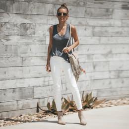 Cotton Hose Australia - Skinny cotton jeans Women Denim Pants Pencil Pants High Elastic Waist Stretch Hose Jeans Leggings Fitness Trousers White