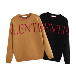 Wholesale warm wool winter coat resale online - Top wool pullover winter warm knit sweater pullover jacquard knit letter embroidery shirt shirt coat