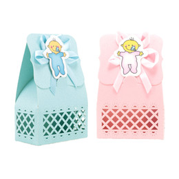 Cute deCorations for baby shower online shopping - 12pcs set Hot Sale Baby Girl And Boy Candy Box Blue Pink DIY Cute Gift Bag Paper for Baby Shower Party Decoration