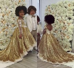 Red long dResses foR gRaduation online shopping - 2020 Bling Gold Sequins Ball Gown Girl s Pageant Dresses Sheer Long Sleeve Appliques Cute Party Dresses For Girl