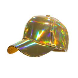 $enCountryForm.capitalKeyWord Australia - New arrival Shining PU Solid color Laser Baseball Cap Unisex Super cool Snapback Hats Casual Adjustable Summer sun Caps 20pcs lot