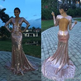 $enCountryForm.capitalKeyWord Australia - Pink Sequins Prom Dress 2019 New Mermaid Evening Formal Party Gown Sexy Vintage Long Sleeve Pageant Gown Vestidos BC1294
