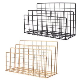 folding book holder Canada - Nordic Style Iron Art Grid Storage Rack Book Holder Three Layer Desktop Magazine Shelf Home Organizer Decoration