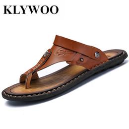 $enCountryForm.capitalKeyWord Australia - KLYWOO Mens Flip Flops Plus Size 47 Brand Summer Genuine Leather Sandals Men Casual Shoes Beach Shoes Native Male Sandals Slides #99070