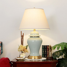 bedside tables UK - New American retro copper table lamps decorative desk lights luxury ceramic desk lamps bedroom study room bedside table lighting